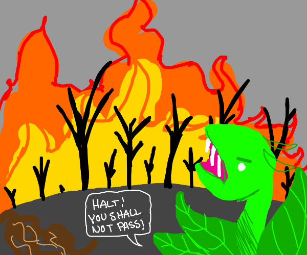 giant plant monster stops a wildfire