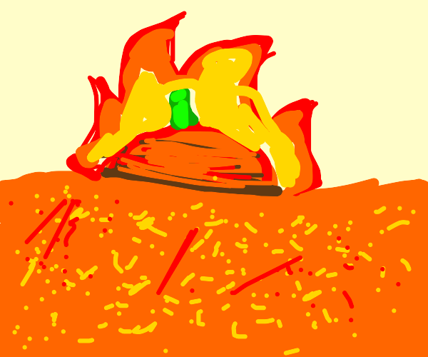 Pumpkin in lava