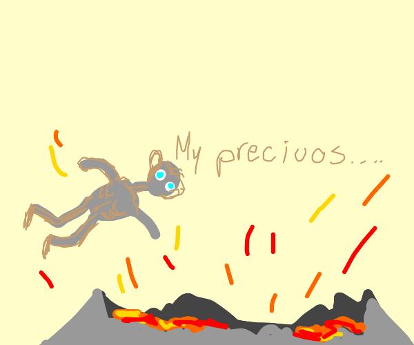 Gollum falls into mt doom