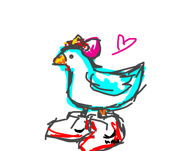 chicken with fancy shoes, bow and heart