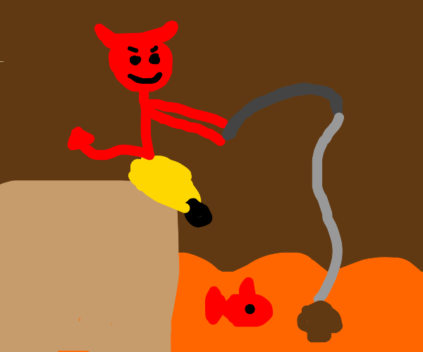 satan going fishing with mushroom bait