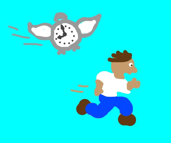 running from a flying clock