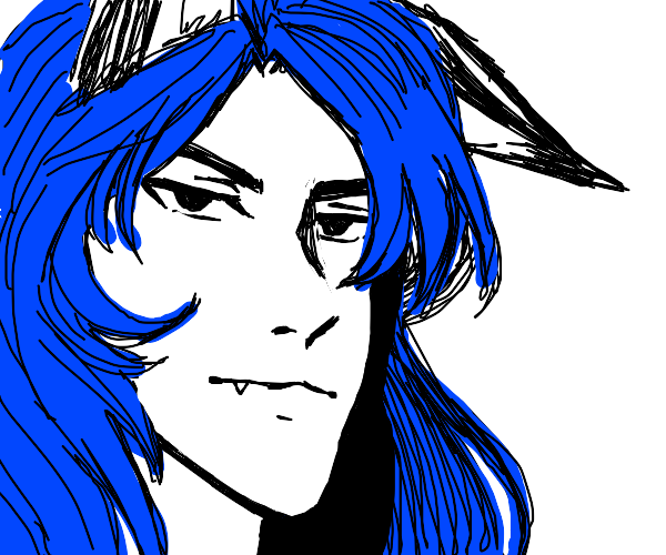 Anime boy with wolf ears and cool hair
