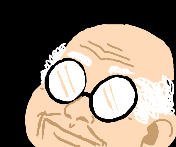 old man w/ white hair on the sides + glasses