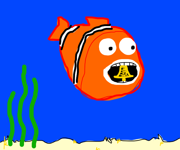 orange fish with bell in mouth