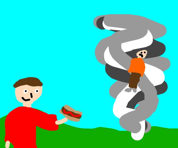guy eats hotdog instead of saving tornado guy