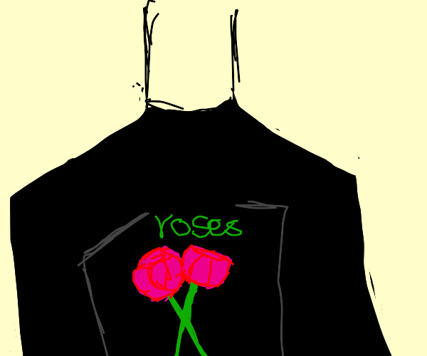 Person wearing shirt with rose graphic