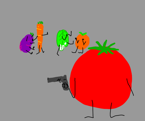 tomato with a gun and foods fighting behindit