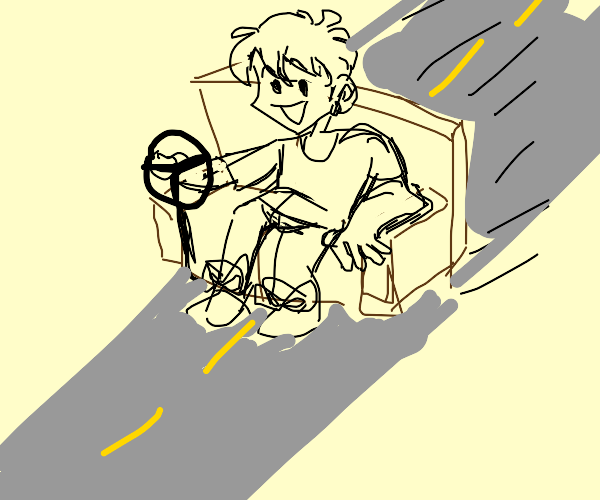 man driving couch