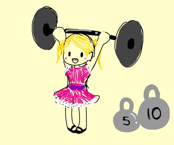 small child lifting weights