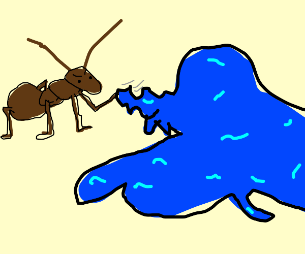 Ant wrestling a blue slime creature