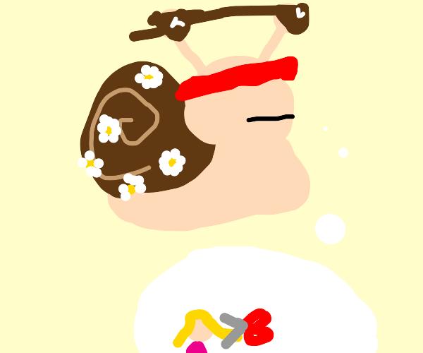 hippie snail considering a haircut