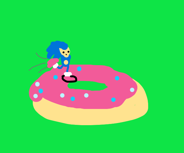 Sonic without arms runs on a doughnut