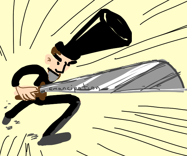 Abraham Lincoln charging with a sword