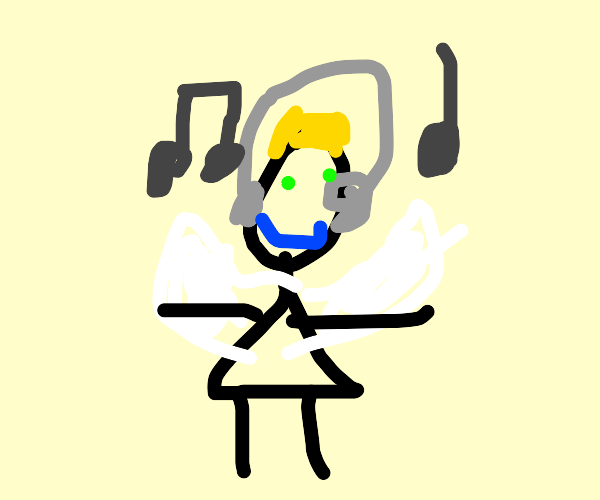 angel jamming out to sick beats