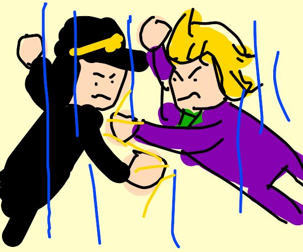 jotaro fights kira while free falling (jjba)