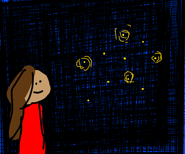Person looking at fireflies
