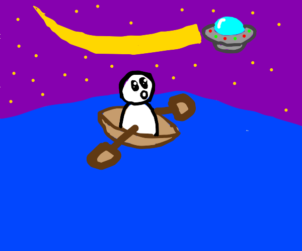 boat in sea at night, UFO up in sky.