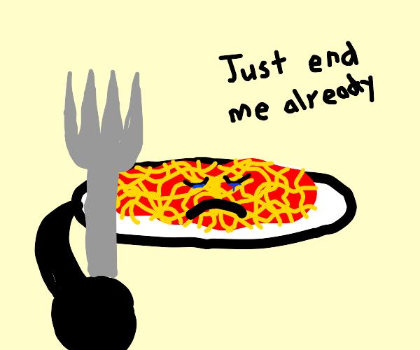 Plate of spaghetti hates life