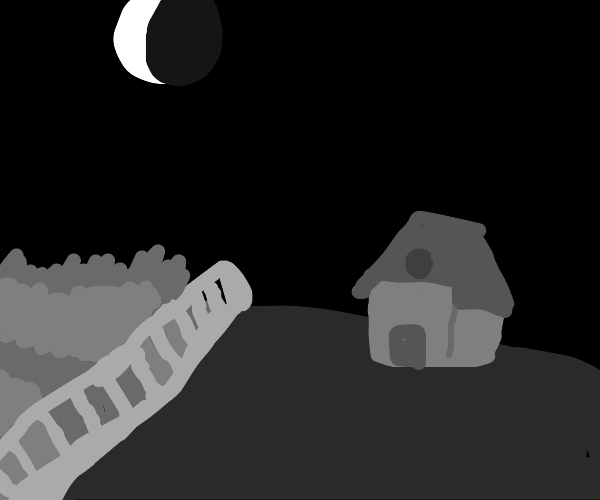 Dark Country scene with barn and moon