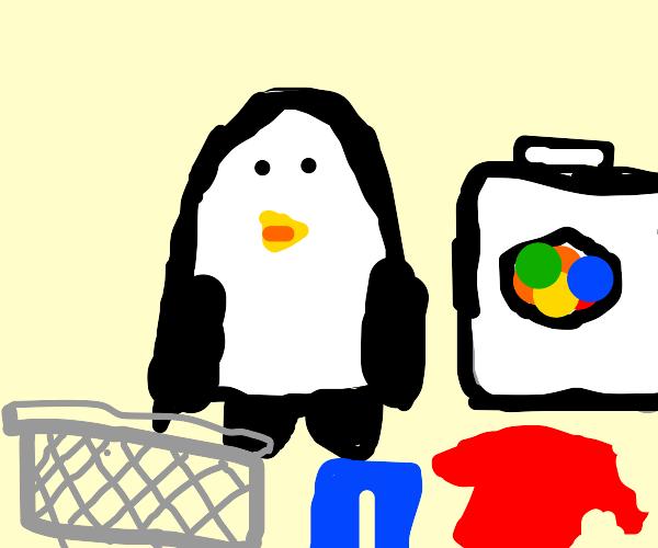 Penguin doing Laundry
