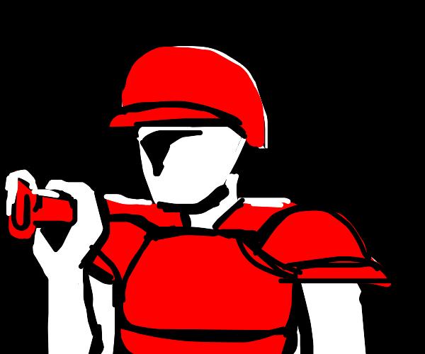 Wearing lobster armor, holding baseball bat