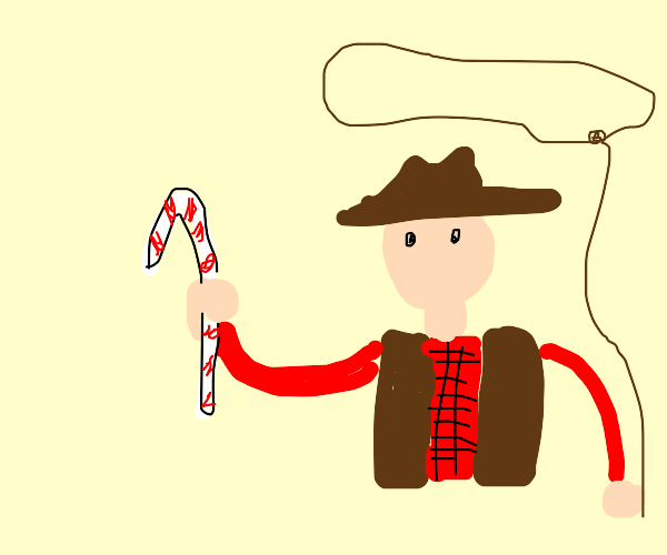 Cowboy holding candy cane