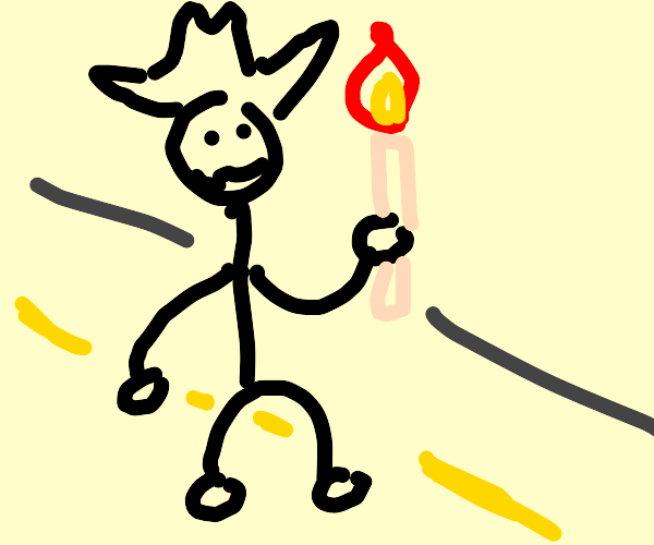 Man on road catches a candle.