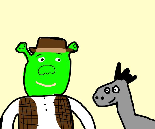 Cowboy and his donkey