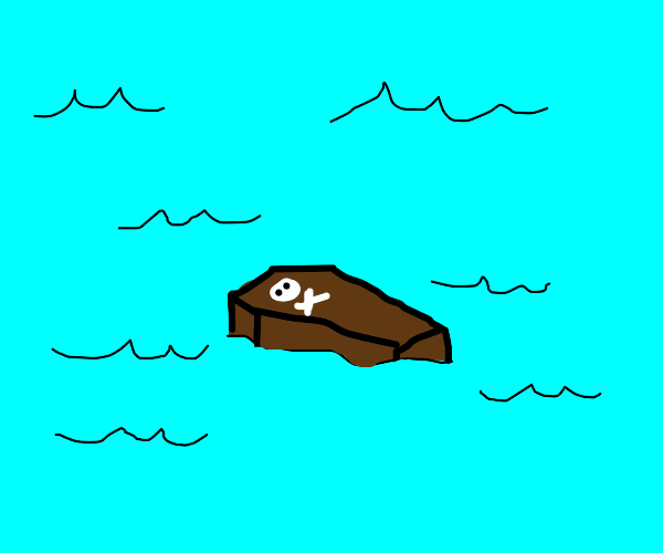 A coffin floating in the ocean
