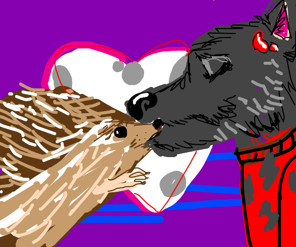 Hedgehog kissing Werewolf
