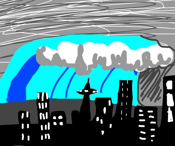 Tsunami coming over a city