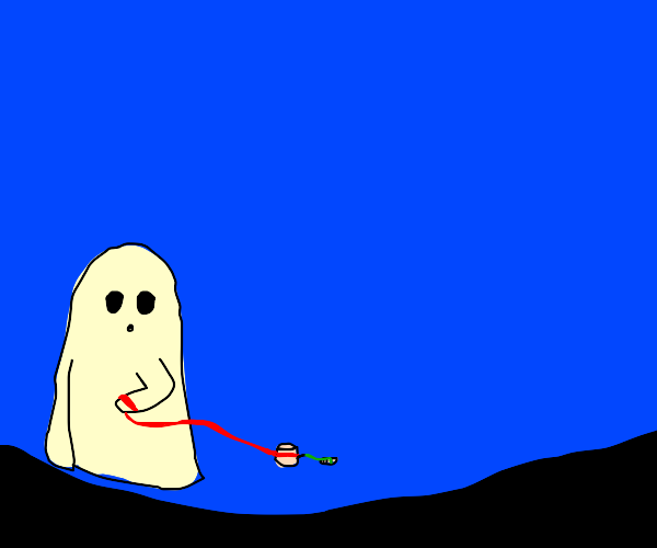 A ghost has a marshmallow who has a maggot