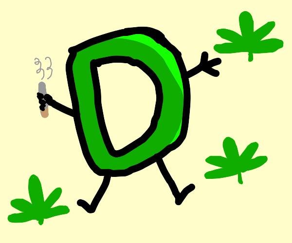green drawception D hitting a blunt