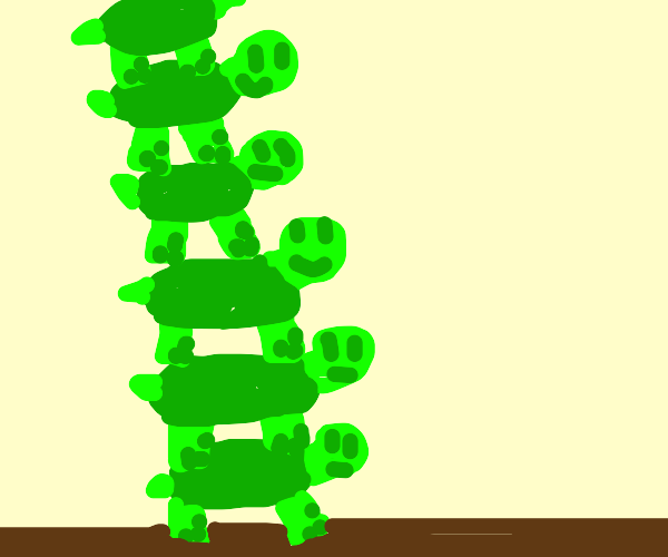 Turtles stack on top of eachother infinitely