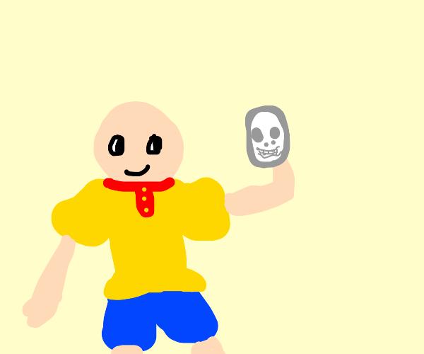 caluio holds someones skull
