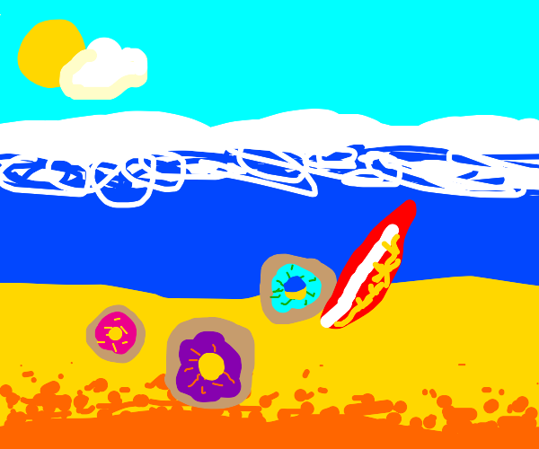Donuts on a beach