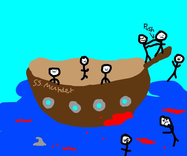 Ship yeets people off