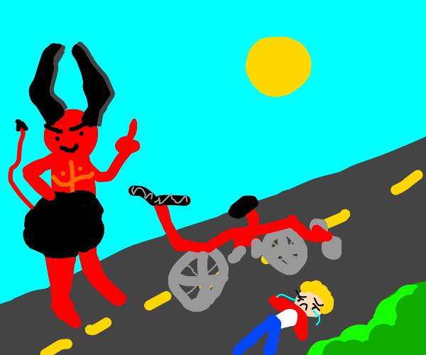 Satan kicking a child off his bike