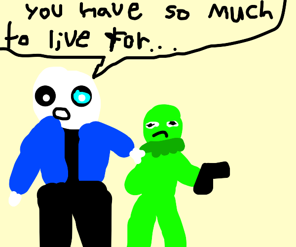 Sans tells Kermit to not commit suicide
