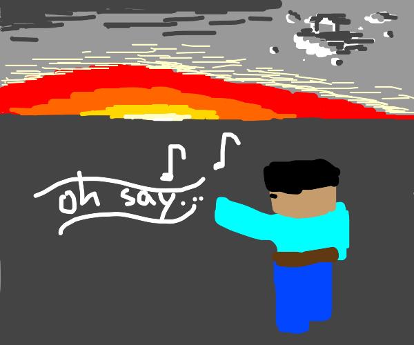 Minecraft man singing