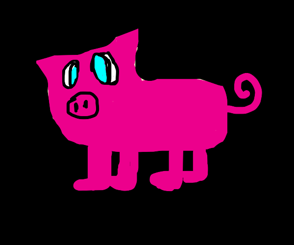 A pig in a black void