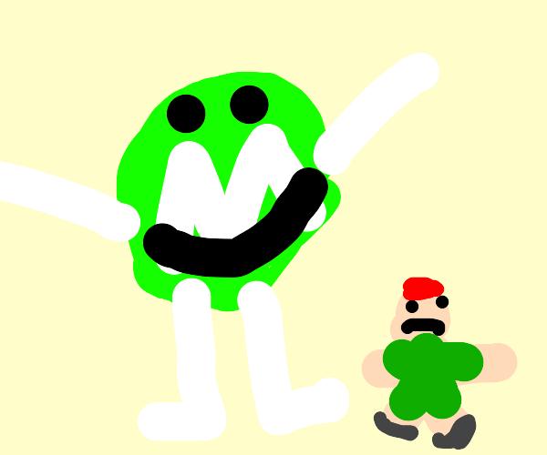 Giant female green M&M