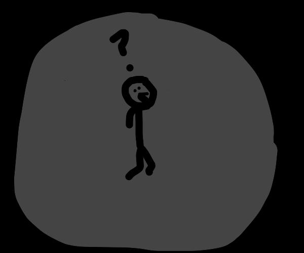 person lost in the dark
