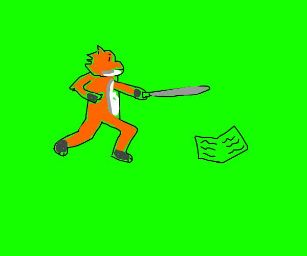 Warrior fox wants her book back