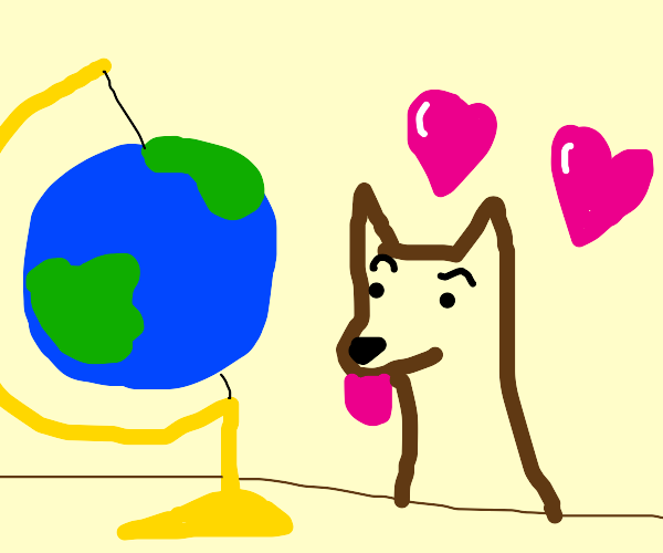 puppy looks at planet lovingly