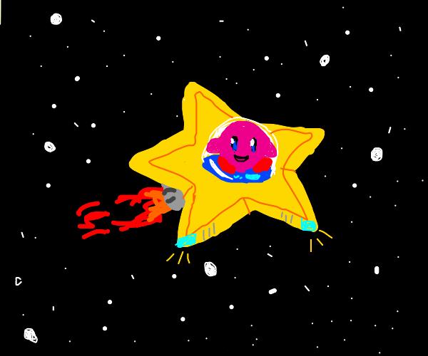 Kirby's shooting starship in the sky