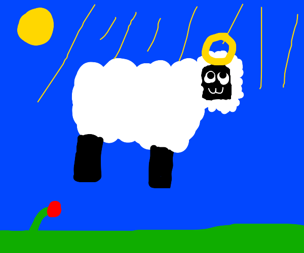 Pink sheep ascends to Heaven