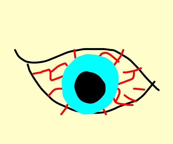 Diseased eye of demonic creatur. stop writing