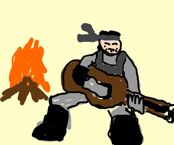 Snake Sings Next To Fire While Playing Guitar
